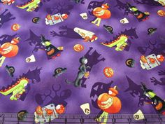 3 Yards Quilt Cotton Fabric- Studio E Spooky Shadows Halloween Costumes Purple #StudioE