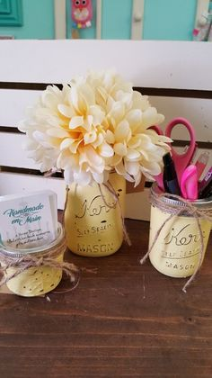 Set of 3 painted jars. Can be used in a bathroom for toothbrushes, cotton balls and cotton swabs or anywhere else in your home.