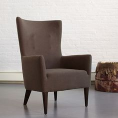 Victor Armchair - Solids #WestElm. Bright blue to flank fireplace if doing grey couch