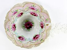 Antique Cup and Saucer, Bone China Teacup, Hand Painted Tea Cup and Saucer 12459