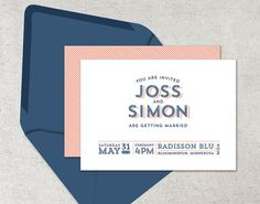 navy and coral wedding invitations nautical by DevonDesignCo