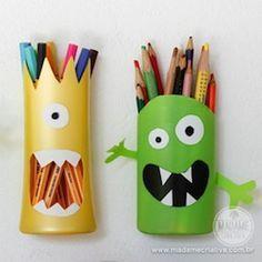 Porta-lápis de monstrinho feito com pote de shampoo - como fazer porta lápis divertido para crianças / Shampoo Bottles into Monster Pencil Holders - Madame Criativa