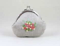 Embroidered coin purse,  kisslock purse, linen purse, hand embroidered pouch, womens floral pouch, silk ribbons by JRsbags on Etsy