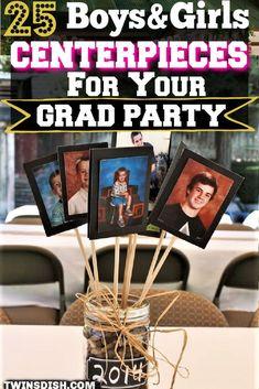 Graduation Centerpieces With Mason Jars, Graduation Table Decorations, Graduation Party Themes, College Graduation Parties, Grad Parties, Graduation Ideas, Party Ideas, Tables, Dollar Tree