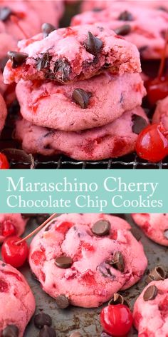 Maraschino Cherry Chocolate Chip Cookies - Chewy Candy - Ideas of Chewy Candy - Thick & chewy maraschino cherry chocolate chip cookie recipe! Cherry Chocolate Chip Cookie Recipe, Peanut Butter Cookie Recipe, Chocolate Chip Recipes, Sugar Cookies Recipe, Chocolate Chips, Peppermint Chocolate, White Chocolate, Strawberry Cookies, Melt Chocolate