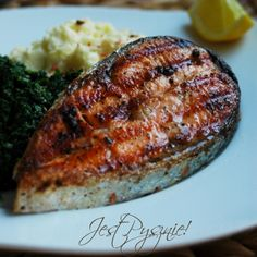 Grilled Salmon with potato puree and spinach