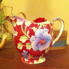 Vintage Royal Winton Grimwades June Festival Red Floral Chintz Porcelain Creamer