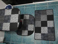 Conjunto para banheiro Patchwork 3 peças.  Outras opções de cores, sob encomenda. R$ 120,00