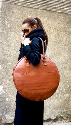 NEW Dark Pumpkin Genuine Leather Bag / High Quality by Aakasha