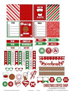 Christmas Coffee Shop Planner Stickers – Free Printable (Vintage Glam Studio)