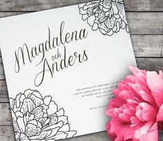 Svartvit inbjudan, pioner, monogram bröllopsinbjudan. Fint med starkt färgade kuvert som kontrast till kortet. Black and white wedding invitation