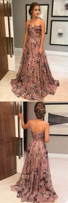 elegant printed chiffon prom dress with beading, fashion strapless blush chiffon evening dress with sweep train
