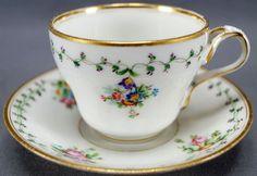 Old Paris Sevres Style Hand Painted Floral & Gilt Tea Cup & Saucer C 1830 - 60 A