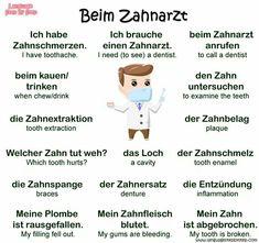 Beim Zahnarzt Study German, Learn German, Learn French, German Grammar, German Words, French Lessons, Spanish Lessons, German Resources, Deutsch Language