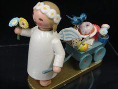 1940s ERZGEBIRGE WENDT KUHN GERMAN WOOD ORNAMENT ANGEL FLOWER CART GIRL FIGURINE