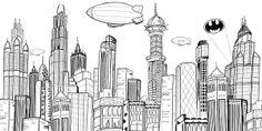 gotham skyline | Gotham City Skyline Art Print