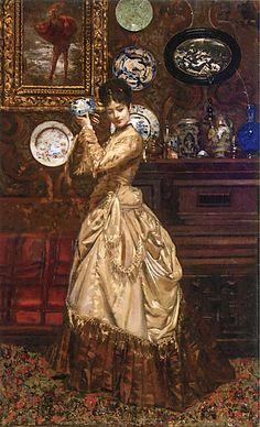 Elegant Woman with Blue Porcelain  Edouard Frederic Wilhelm Richter - circa 1885