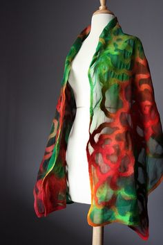 Nuno felted shawl wrap Red Green wool silk Rose floral design by VitalTemptation , Etsy, via Flickr