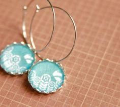 Cotton flowers hoop dangle earrings  Natural by SerejkinDom, $22.00