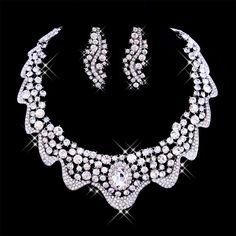 Upscale Rhinestone Bridal Necklace