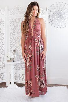 Brinley Braided Halter Maxi Dress (Dark Rose)