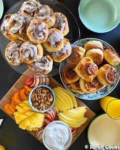 Kaya and coconut scrolls; Fruit with coconut yogurt and gula melaka granola Hello hello! Toffee Sauce, Pavlova Recipe, Lemon Filling, Leftover Ham, Brunch Party, Lemon Slice, Nigella, Condensed Milk, Recipe Using