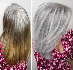 Stylist shows gorgeousness of grey hair instead of covering it up Grey Hair Transformation, Gray Hair Highlights, Grey Hair Inspiration, Transition To Gray Hair, Hair Colorist, Blonde Color, Celebrity Hairstyles, Silver Hair, Hair Looks