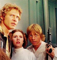 On the Death Star with Han, Leia, and Luke.