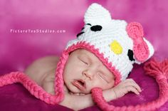 Crochet Hello Kitty Hat made to order. $20.00, via Etsy.