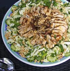 Asian Cabbage Salad with Grilled Chicken & Shiitakes - with a delicious sesame-soy-garlic-ginger dressing.