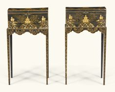 A pair of Regency black and gilt japanned caskets on stands, circa 1815