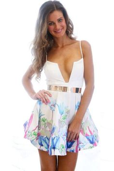 Image of Backless Deep V-neck Floral Print Sling Dress Ball Gown Dresses, Sexy Dresses, Cute Dresses, Casual Dresses, Fashion Dresses, Fashion Pics, Teen Fashion, Party Dresses, Short Dresses