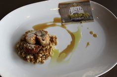 Abita Brewing Company Beer Pairing Dinner at Stadium. Rabbit Loin Stuffed with Barley and Wheatberries, Malt Gastrique and Candied Cascade Hops. #LBR