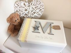 Buy at www.facebook.com/cosycottagesomerset - Personalised Large Wooden Pine Memory Keepsake Box New Baby Girls Boys Unisex Christening Shower Gift Christening Gift 1st Birthday Gift Sewing Craft Box Wedding Memory Box Rustic Shabby Chic Balloons Stars Grey White Pink Blue Ditsy Floral Painted Yellow Initial £25