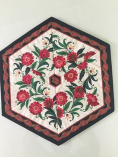 Christmas Red Flowers Quilted Hexagon Table by countrysewing4U