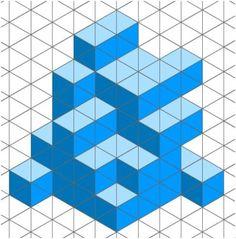 Dibujo Isometrico Isometric Drawing Exercises, Isometric Art, Tumbling Blocks Quilt, Graph Paper Drawings, Pixel Design, Typography Poster Design, Math Art, Geometry Art, Illusion Art