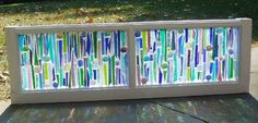 This Garden Glass Window is called 'Sticks-n-Stones Blue'. Stained Glass Designs, Stained Glass Projects, Stained Glass Patterns, Cool Ideas, Diy Ideas, Fused Glass Art, Stained Glass Art, Mosaic Art, Mosaic Glass
