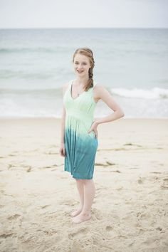 Outer Banks Family Portraits | Nags Head Family Pictures | Blue and teal beach dress