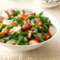 Warm Green Bean and potato salad...to use up all my Talley Farms goodies!