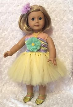Yellow & Pastel Tulle Tutu Dress for American Girl 18 inch doll or 15 inch doll / Dress + Shoes + Hair Clip / Flower Girl Dress / Doll Dress by mydollydreamboutique on Etsy