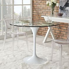 """Lippa 40"""" Glass Top Dining Table"""