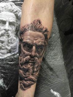 3D Tattoo portrait of God Statue #Tattoo, #Tattooed, #Tattoos