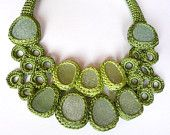 Green bib necklace with 9  sea glass statement prom collar crochet OOAK handmade Birthday spring gift for her Mother Valentine Christmas