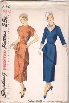 1950s Simplicity 3112 Misses V Neck DRESS Pattern Slanted Peplum womens vintage sewing pattern  by mbchills