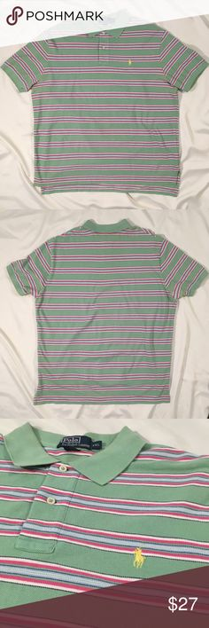 Polo Ralph Lauren striped polo t shirt Green, pink, and white stripes. Size xxl. Excellent condition. Make an offer! Polo by Ralph Lauren Shirts Polos