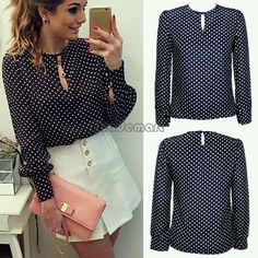 Long Sleeve Slit Open Women Blouse Chiffon Hollow Sexy Casual Shirt Plus Size Women Tops Blusas bluse Polka Dots Shirt Top 63 Casual Chic, Look Casual, Look Chic, Casual Outfits, Cute Outfits, Chiffon Shirt, Shirt Blouses, Blouse Designs, Fashion Looks