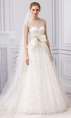 """Our 5 Favorite Looks from #MoniqueLhuillier's New Wedding Dress Collection: """"Champagne"""" Silk White and Gold Embroidered Illusion Gown. http://news.instyle.com/photo-gallery/?postgallery=109011#4"""