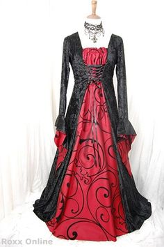 Gothic Medieval dress with blood red taffeta