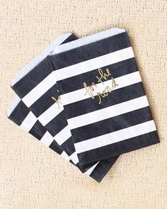 Black and white stripes paper bag with gold lettering - take-home bags for the dessert table #wedding #diywedding #goldblack #weddingfavors