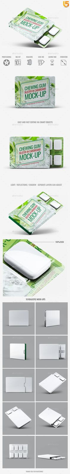 Chewing Gum Blister in Cardboard Mock-Up